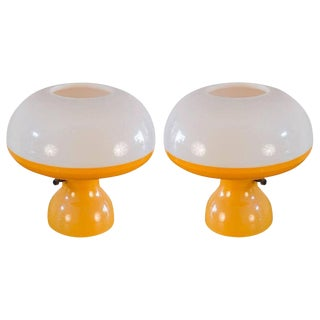 Vintage 1960s Orange and White Mushroom Lamps