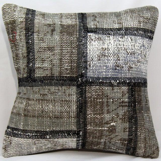 Turkish Handmade Gray Kilim Pillow - Image 2 of 5