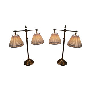 Brass Double Student Lamps - A Pair