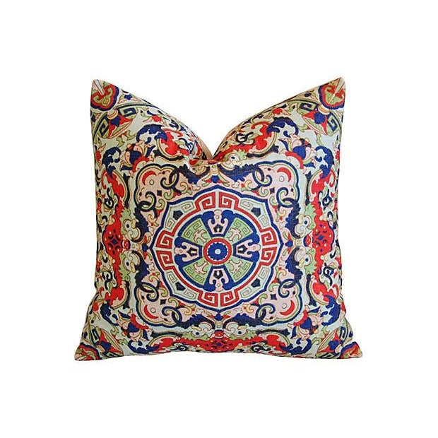 Asian Floral Medallion Linen Pillows - Pair - Image 2 of 7
