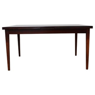 Scandinavian Modern Rosewood Dining Table or Desk with Self-Storing Leaves