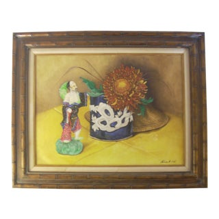 Chinoiserie Still Life Oil on Canvas Painting