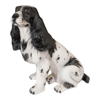 Mid-Century Italian Black and White Cocker Ceramic Spaniel Dog Sculpture