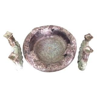 Antique Frank Keramik Fruit Bowl & Candle Holders