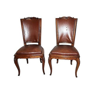 French Walnut Side Chairs - A Pair