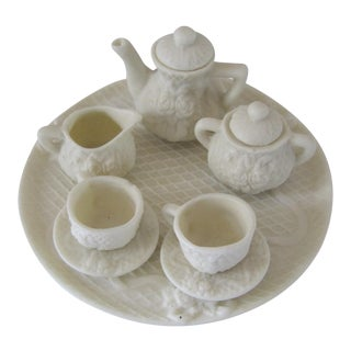 Doll Sized Porcelain Tea Set, 10 Pieces