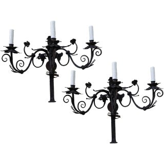 Spanish Wrought Iron Sconces - A Pair