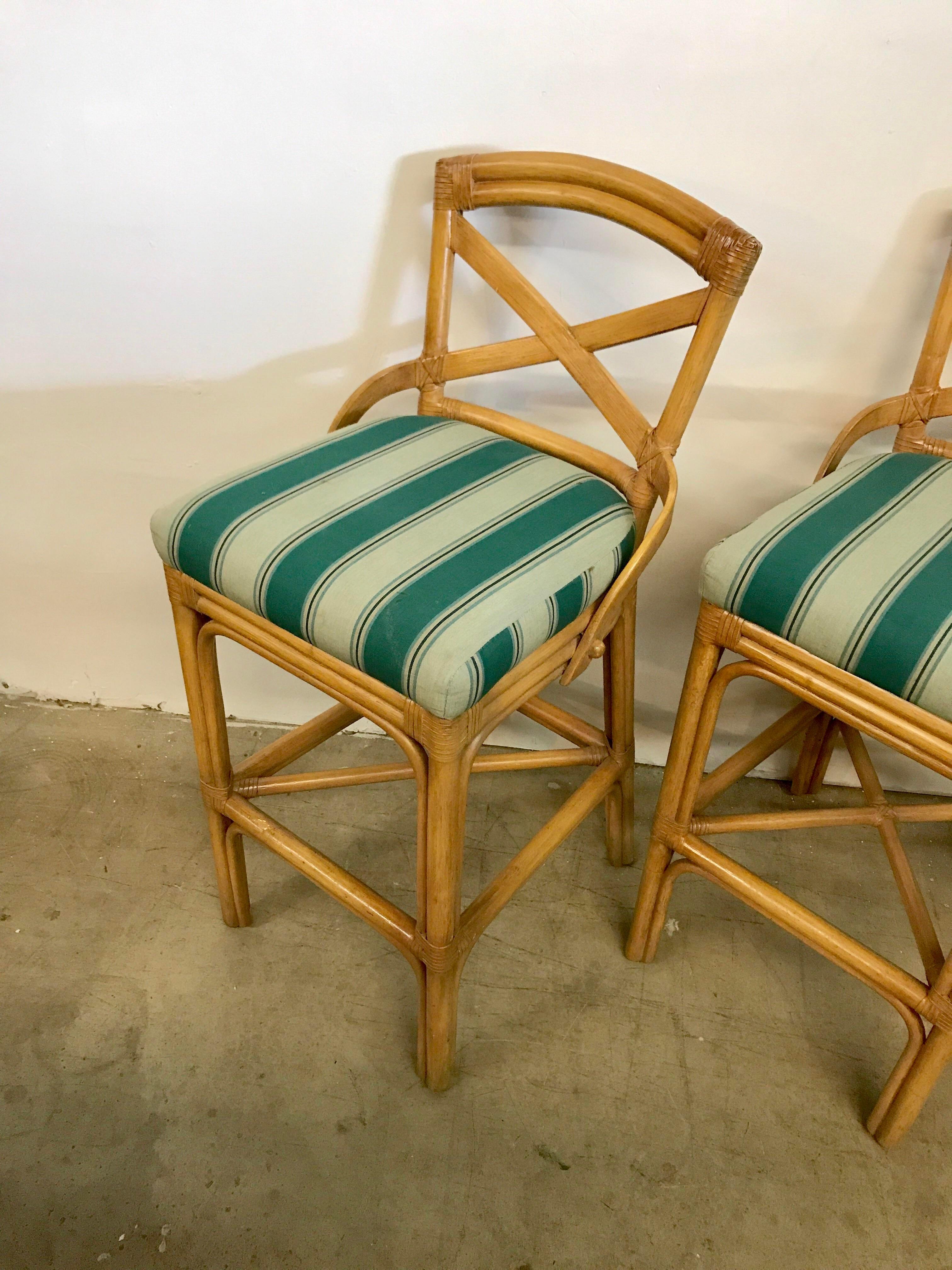 Vintage Rattan X Back Bar Stools Set Of 3 Chairish