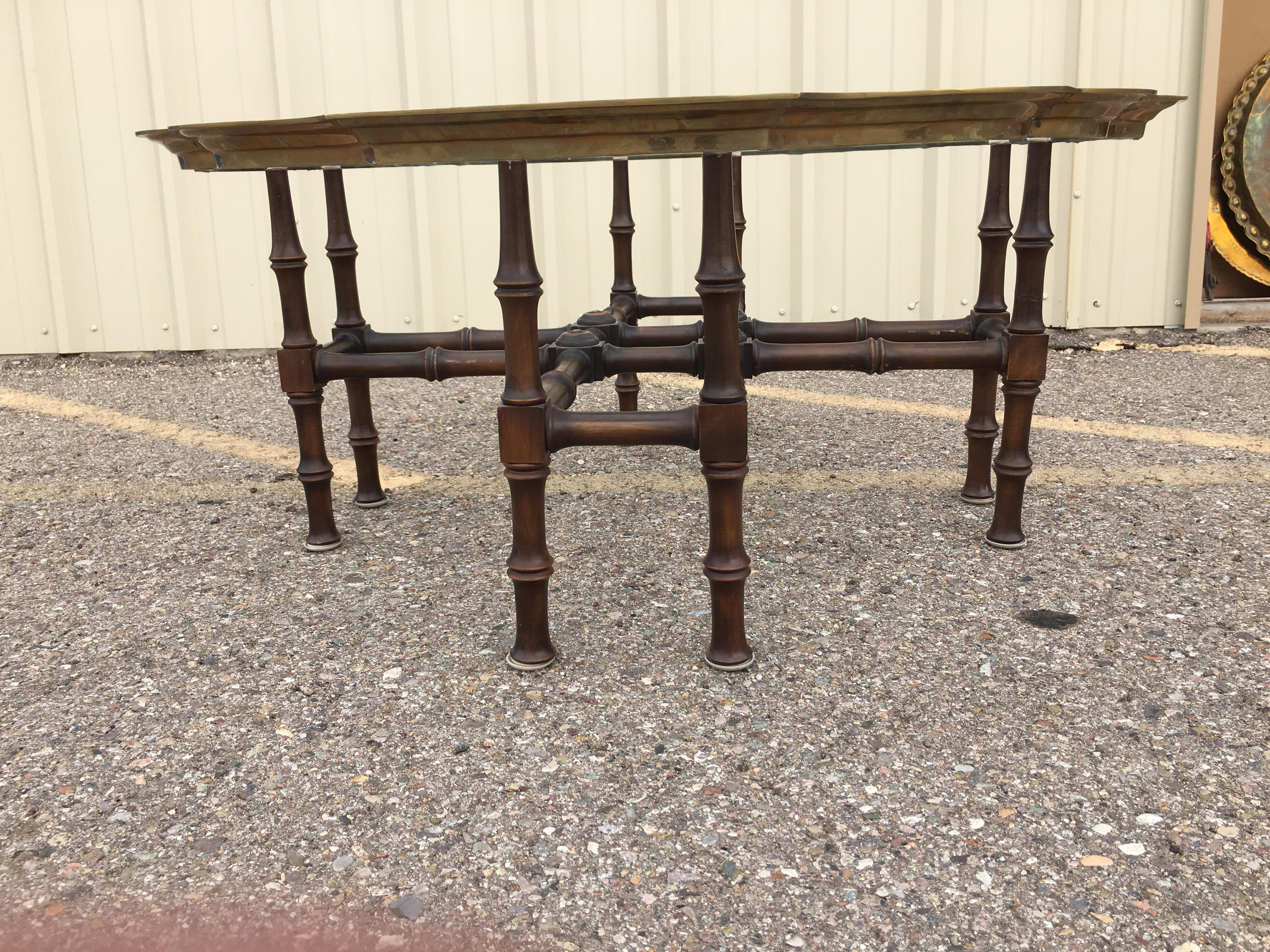 Baker Faux Bamboo With Brass Framed Glass Top Coffee Table   Image 7 Of 9