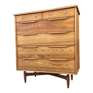 Mid-Century Sculptural Highboy Dresser
