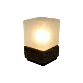 Cube Cork & Glass Shade Lamp