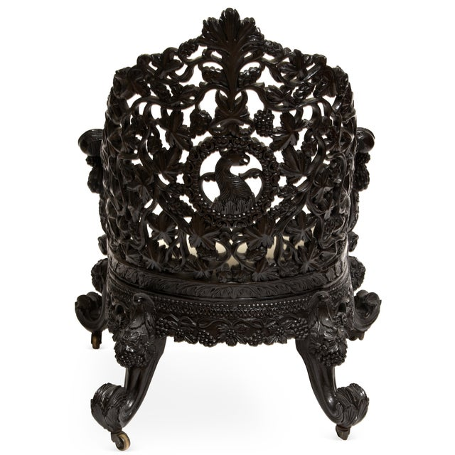 Antique 1850 Anglo-Indian Hand Carved Chair - Image 3 of 6