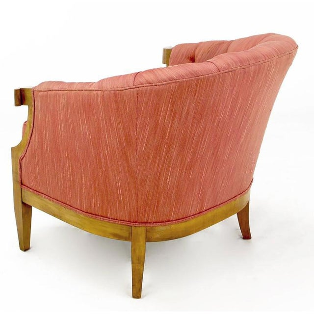 Winsor White & William Millington for Baker Button-Tufted Silk & Walnut Club Cha - Image 4 of 9