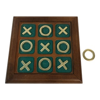 Vintage Wood, Felt, & Brass Tic Tac Toe Set