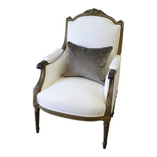 Antique Louis XVI Style Giltwood Bergere Chair in White Linen