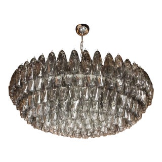 Modernist Handblown Murano Polyhedral Chandelier in Smoked Pewter
