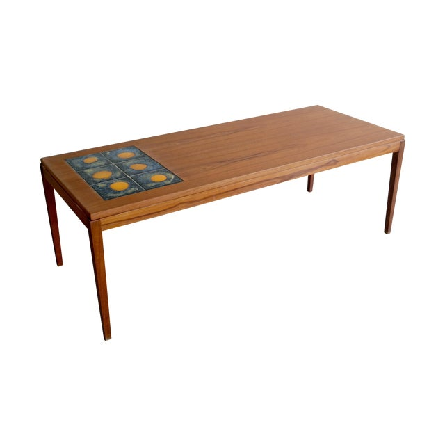 Mid Century Danish Coffee Table Teak W/ Tile Top
