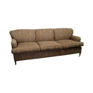 Lillian August Custom Paisley Upholstered Sofa on Brass Casters