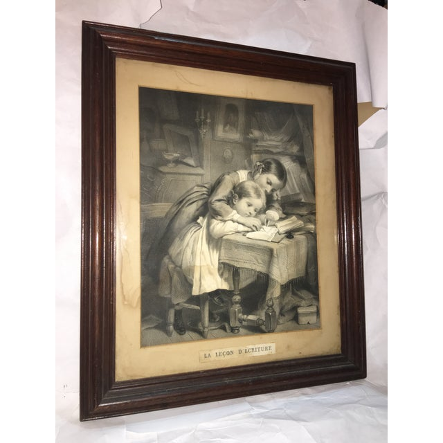 """19th Century """"The Writing Lesson"""" Lithograph - Image 4 of 11"""
