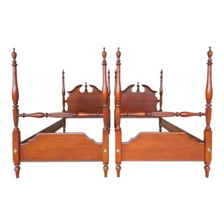 Lexington Cherry Chippendale Style Twin Poster Beds - a Pair