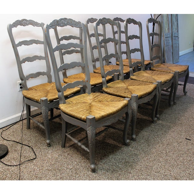 Country French Rush Seat Dining Chairs - Set of 8 - Image 2 of 8