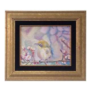 Nancy T. Van Ness Bird on Branch Oil Painting Print