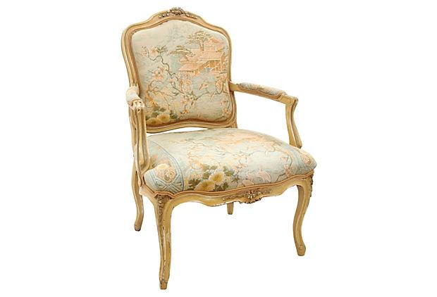 louis xv style chinoiserie upholstered fauteuil chairish
