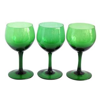 Vintage Green Wine Glasses- Set of 3