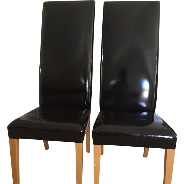 Patent Leather High Back Chairs - A Pair - Image 1 of 8