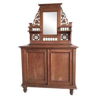 Cupboard With Mirror and Wood Carvings