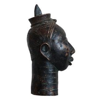 """Benin Head """"Queen Idia"""" Bronze Sculpture"""