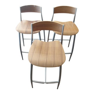 Design Within Reach Baba Counter Stools, Wood W/ Metal Frame - Set of 3