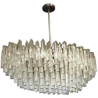 Italian Mid-Century Camer Oval Glass Murano Chandelier