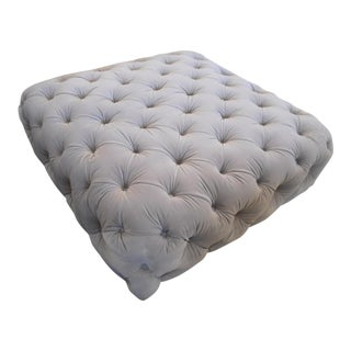 Intuition Light Gray Velvet Ottoman