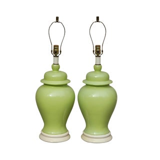 Mid-Century Green Ceramic Table Lamps - A Pair