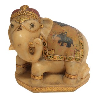 Carved & Painted Alabaster Elephant