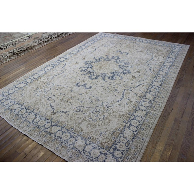 "Vintage Turkish Over-Dyed Cream Rug - 6'7"" x 9'7"" - Image 4 of 8"