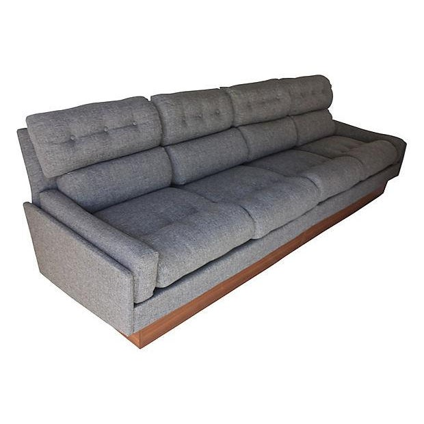 Danish modern teak gray tweed couch chairish for Grey tweed couch