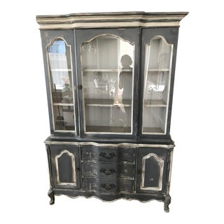 French Gray Provincial China Cabinet