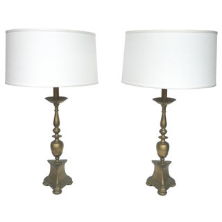 Brass Candlestick Table Lamps - A Pair