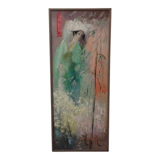 Patricia Cunningham Oil on Wood Painting - Asian Woman