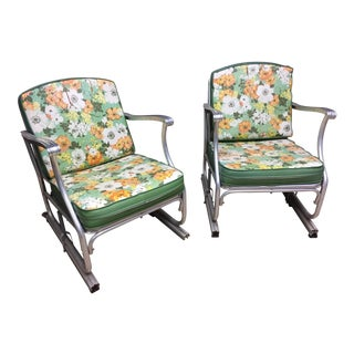 Mid Century Modern Bunting Aluminum Glider Patio Chairs - A Pair