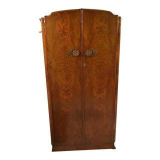 Art Deco Walnut Armoire With Decorative Brass Knobs