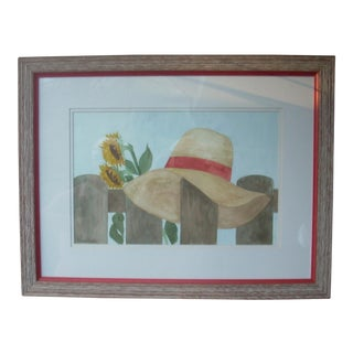 Marie Kook Straw Hat Watercolor