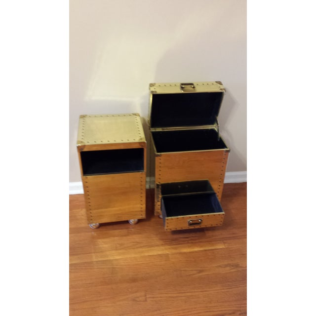 Studded Brass Trunk Sidetables - A Pair - Image 3 of 9