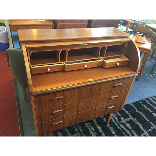 Mid-Century Danish Rosewood Roll-Top Desk - Image 5 of 9
