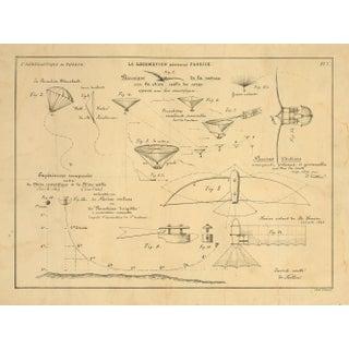 1800s Print of Drawings of Air Locomotion, Paris