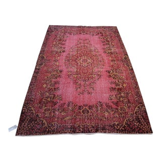 "Red Colour Turkish Over Dyed Rug - 6'3"" X 9'10"""