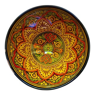 Vintage Moroccan Hand Painted Bowl