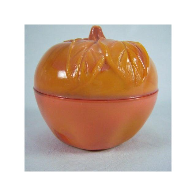Slag Glass Peach Shaped Box Vintage - Image 2 of 8